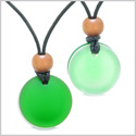 Reversible Full Moon Frosted Sea Glass Forest Green and Mist White Amulets Love Couples or BFF Necklaces