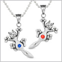 Amulets Cute Kitty Cat Love Couples or Best Friends Set Royal Red and Blue Sparkling Crystals Necklaces