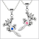 Amulets Cute Kitty Cat Love Couples or Best Friends Set Royal Blue and Pink Sparkling Crystals Necklaces