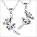 Amulets Cute Kitty Cat Love Couples or Best Friends Set Royal Blue and Black Sparkling Crystals Necklaces