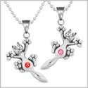 Amulets Cute Kitty Cat Love Couples or Best Friends Set Royal Red and Pink Sparkling Crystals Necklaces