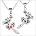 Amulets Cute Kitty Cat Love Couples or Best Friends Set Royal Red and Black Sparkling Crystals Necklaces