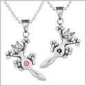 Amulets Cute Kitty Cat Love Couples or Best Friends Set Royal Black and Pink Sparkling Crystals Necklaces