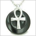 "All Powers of Life Ankh Egyptian Magic Amulet Black Onyx Spiritual Energy Lucky Donut Pure Stainless Steel Pendant 18"" Necklace"
