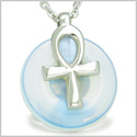"All Powers of Life Ankh Egyptian Magic Amulet Opalite Good Luck Energy Lucky Donut Pure Stainless Steel Pendant 18"" Necklace"