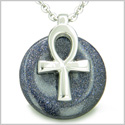"All Powers of Life Ankh Egyptian Magic Amulet Blue Goldstone Good Luck Energy Lucky Donut Pure Steel Pendant 18"" Necklace"