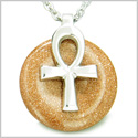 "All Powers of Life Ankh Egyptian Magic Amulet Goldstone Good Luck Energy Lucky Donut Pure Stainless Steel Pendant 18"" Necklace"