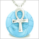 "All Powers of Life Ankh Egyptian Magic Amulet Turquoise Good Luck Energy Lucky Donut Pure Stainless Steel Pendant 18"" Necklace"