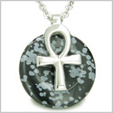 "All Powers of Life Ankh Egyptian Magic Amulet Snowflake Obsidian Protection Energy Lucky Donut Pure Steel Pendant 18"" Necklace"