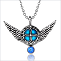 Archangel Gabriel Angel Wings Protection Shield Magic Powers Royal Blue Crystal Pendant 18 inch Necklace