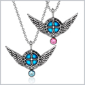 Angel Wings Archangel Gabriel Love Couples or Best Friends Set Charms Sky Blue and Pink Pendant Necklaces