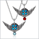 Angel Wings Archangel Gabriel Love Couples or Best Friends Set Charms Sky Blue and Red Pendant Necklaces