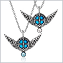 Angel Wings Archangel Gabriel Love Couples or Best Friends Set Charms Sky Blue White Pendant Necklaces