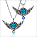 Angel Wings Archangel Gabriel Love Couples or Best Friends Set Sky Blue and Royal Blue Pendant Necklaces