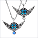 Angel Wings Archangel Gabriel Love Couples or Best Friends Set Charms Royal Blue White Pendant Necklaces