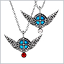 Angel Wings Archangel Gabriel Love Couples or Best Friends Set Charms Cherry Red White Pendant Necklaces