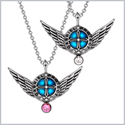 Angel Wings Archangel Gabriel Love Couples or Best Friends Set Charms Pink and White Pendant Necklaces