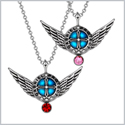Angel Wings Archangel Gabriel Love Couples or Best Friends Set Charms Pink Cherry Red Pendant Necklaces