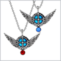 Angel Wings Archangel Gabriel Love Couples or Best Friends Set Charms Royal Blue Red Pendant Necklaces
