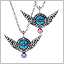 Angel Wings Archangel Gabriel Love Couples or Best Friends Set Charms Purple and Pink Pendant Necklaces