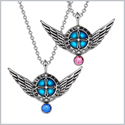 Angel Wings Archangel Gabriel Love Couples or Best Friends Set Charms Royal Blue Pink Pendant Necklaces