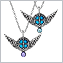 Angel Wings Archangel Gabriel Love Couples or Best Friends Set Charms Sky Blue Purple Pendant Necklaces