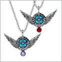 Angel Wings Archangel Gabriel Love Couples or Best Friends Set Charms Cherry Red Purple Pendant Necklaces
