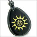 Amulet Star Pentacle and Sun Energy Magic Positive Powers Spiritual Control Black Onyx Wish Totem Gemstone Pendant Necklace