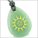 Amulet Star Pentacle and Sun Energy Magic Positive Power Good Luck Control Green Aventurine Wish Totem Gemstone Pendant Necklace