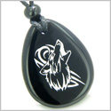 Amulet Courage and Protection Howling Wolf Spiritual Powers Black Onyx Wish Totem Gem Stone Pendant Necklace