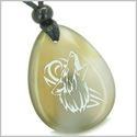 Amulet Courage and Protection Howling Wolf Good Luck Powers Natural Agate Wish Totem Gem Stone Pendant Necklace