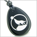 Amulet Courage and Protection Howling Wolf and Moon Spiritual Powers Black Onyx Wish Totem Gem Stone Pendant Necklace