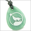 Amulet Courage and Protection Howling Wolf and Moon Good Luck Powers Green Aventurine Wish Totem Gem Stone Pendant Necklace