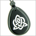 Amulet Triple Magic Energy Celtic Triquetra Shield Knot Spiritual Powers Black Onyx Wish Totem Gem Stone Pendant Necklace