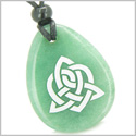 Amulet Triple Magic Energy Celtic Triquetra Shield Knot Good Luck Powers Green Aventurine Wish Totem Gem Stone Pendant Necklace
