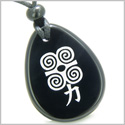 Amulet Supernatural Energy Power Magic Kanji Spiritual Control Black Onyx Wish Totem Gemstone Pendant Necklace