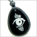 Amulet All Seeing Eye and Ancient OM Tibetan Mantra Spiritual Protection Powers Black Onyx Wish Totem Gemstone Pendant Necklace