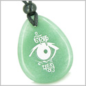 Amulet All Seeing Eye and Ancient OM Tibetan Mantra Good Luck Powers Green Aventurine Wish Totem Gemstone Pendant Necklace