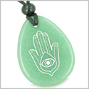 Amulet Magic Hamsa Hand and Evil Eye Reflection Good Luck Powers Green Aventurine Wish Totem Gemstone Pendant Necklace