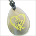 Amulet Heart Love Energy Kanji Magic Symbol Good Luck Powers Natural Agate Wish Totem Gemstone Pendant Necklace