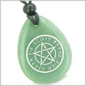 Amulet Magical Pentacle Runic Star Powerful Defense Good Luck Control Green Aventurine Wish Totem Gemstone Pendant Necklace