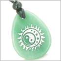 Amulet Positive Energy Magic Earth Yin Yang Balance Powers Sun, Moon Stars Green Aventurine Wish Totem Gemstone Pendant Necklace