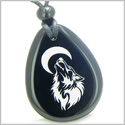 Amulet Brave and Protection Howling Wolf and Moon Spiritual Powers Black Onyx Wish Totem Gem Stone Pendant Necklace