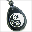 Amulet Wolf Paw Yin Yang Magic Kanji Spiritual and Balance Powers Black Onyx Wish Totem Gem Stone Pendant Necklace
