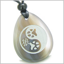 Amulet Wolf Paw Yin Yang Magic Kanji Good Luck and Balance Powers Natural Agate Wish Totem Gem Stone Pendant Necklace