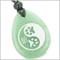 Amulet Wolf Paw Yin Yang Magic Kanji Good Luck and Balance Powers Green Aventurine Wish Totem Gem Stone Pendant Necklace