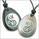 Amulets Wolf Paw Yin Yang Magic Kanji Balance Powers Couples or Best Friends Natural Agate Black Onyx Gemstones Totem Necklaces