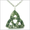 Celtic Triquetra Knot Magic Amulet Green Moss Agate Good Luck Powers Gemstone Pendant on 18� Stainless Steel Necklace