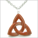 Celtic Triquetra Knot Magic Amulet Red Jasper Believe Powers Gemstone Pendant on 22� Stainless Steel Necklace