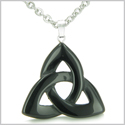 Celtic Triquetra Knot Magic Amulet Black Onyx Spiritual Protection Powers Gemstone Pendant on 18� Stainless Steel Necklace